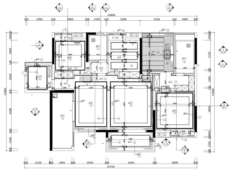 湘域中央花园现代风格A户型样板间施工图-4天花吊顶图