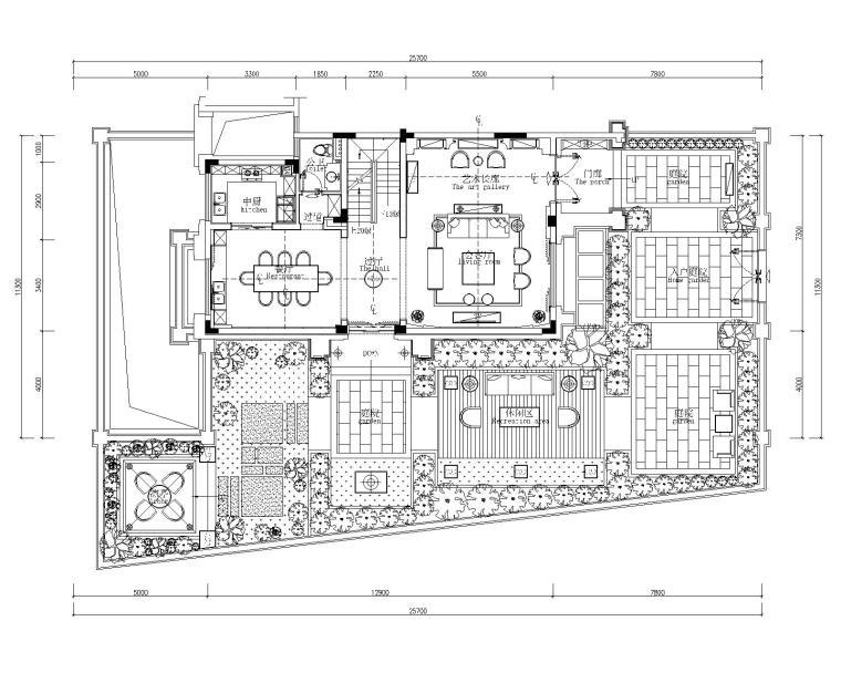 佛山绿岛湖四居室别墅样板房室内装修施工图