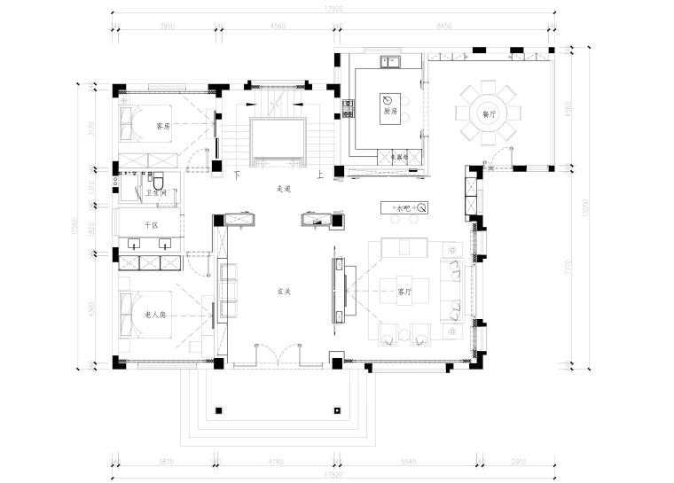 党湾王宅室内装修全套CAD施工图+效果图