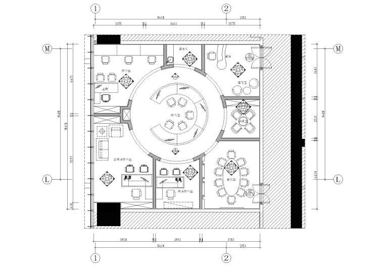 [佛山]万达写字楼三层样板房施工图+效果图