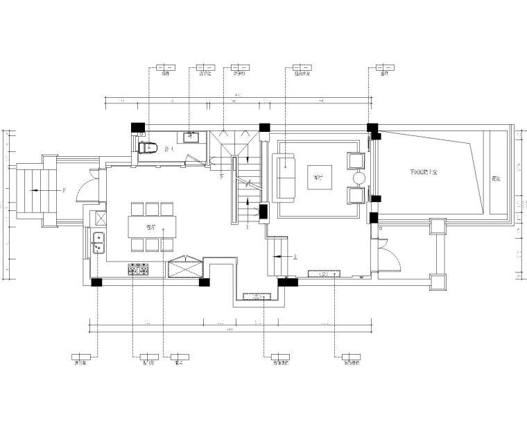 保亿丽景英郡三居室样板房室内装修施工图-1一层平面布置图