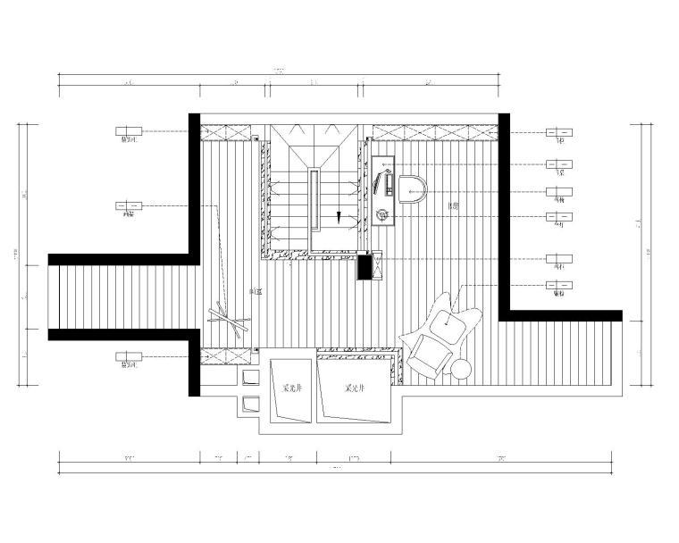 保亿丽景英郡三居室样板房室内装修施工图-4阁楼平面布置图