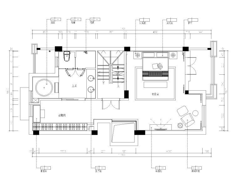 保亿丽景英郡三居室样板房室内装修施工图-3三层平面布置图