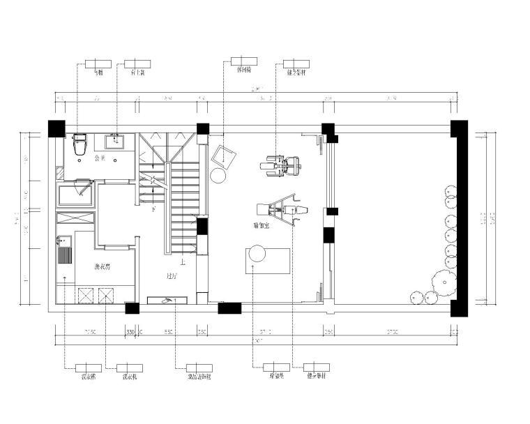 保亿丽景英郡三居室样板房室内装修施工图-5地下一层平面施工图