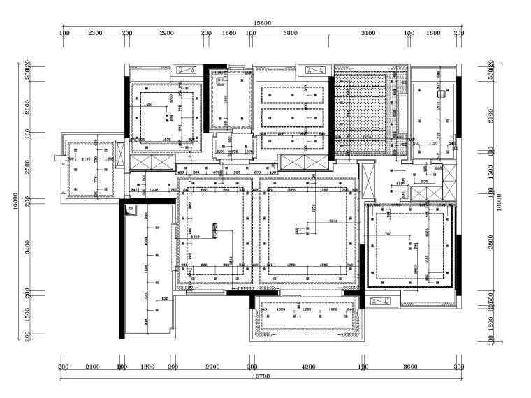 湘域中央花园现代风格A户型样板间施工图-5灯具布置尺寸图