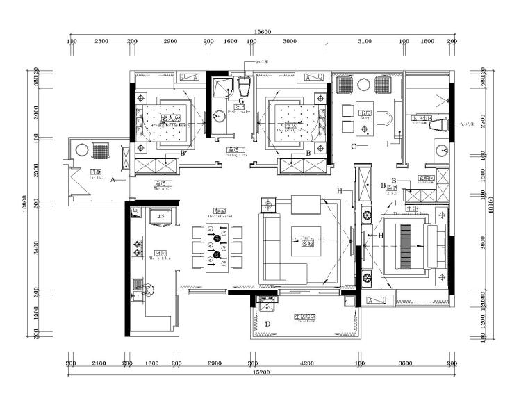 湘域中央花园现代风格A户型样板间施工图-1平面图