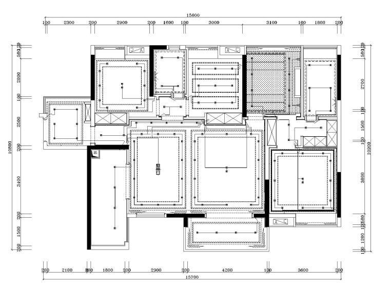湘域中央花园现代风格A户型样板间施工图-6开关布置图
