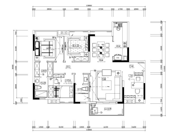 湘域中央花园现代风格B户型样板间施工图-1平面布局图