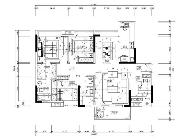 湘域中央花园现代风格B户型样板间施工图-2家具尺寸图