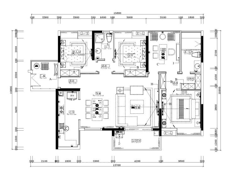 湘域中央花园现代风格A户型样板间施工图-7插座布置图