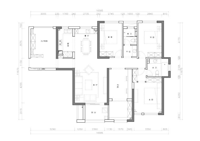 复地东湖国际三居室样板间室内装修施工图