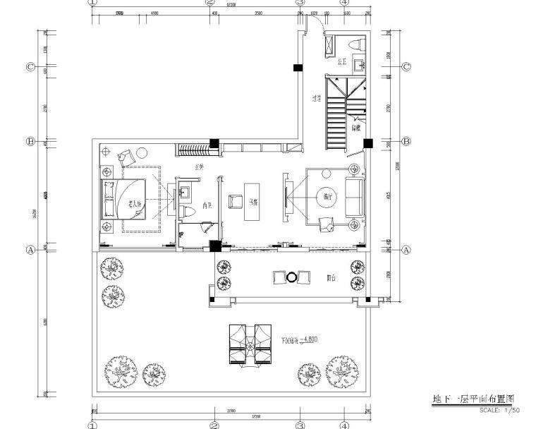 福州金辉半岛别墅B户型样板间装修施工图