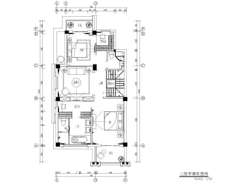 福州金辉半岛别墅B户型样板间装修施工图-3