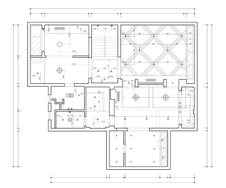 东方美居知名地产叶语五居室样板房装修施工图-地下室灯具尺寸图_看图王