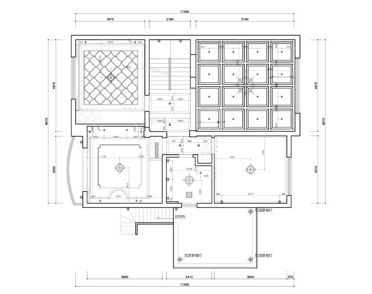 东方美居知名地产叶语五居室样板房装修施工图-二层灯具尺寸图_看图王