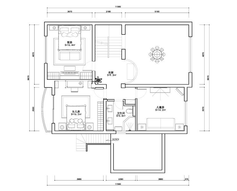 东方美居知名地产叶语五居室样板房装修施工图-二层平面布置图_看图王