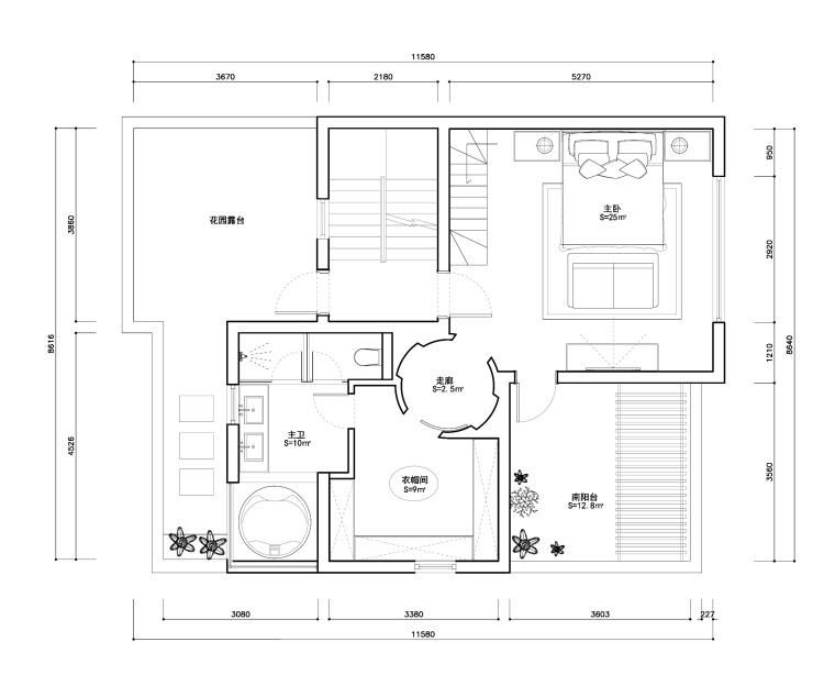 东方美居知名地产叶语五居室样板房装修施工图-三层平面布置图_看图王