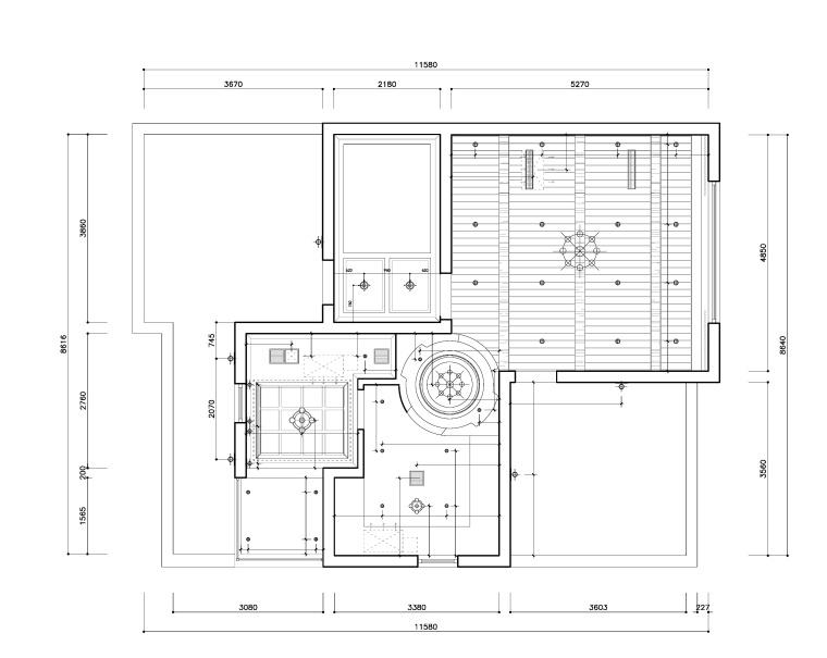 东方美居知名地产叶语五居室样板房装修施工图-三楼灯具尺寸图_看图王