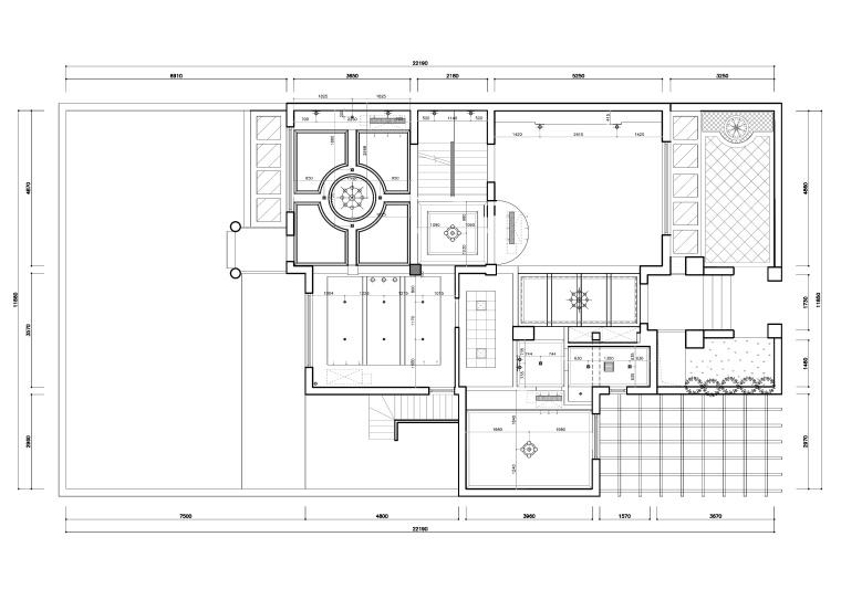 东方美居知名地产叶语五居室样板房装修施工图-一层灯具尺寸图_看图王