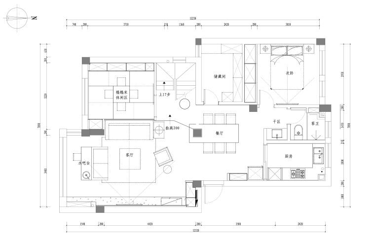 江南名楼两居室样板房室内装修全套施工图