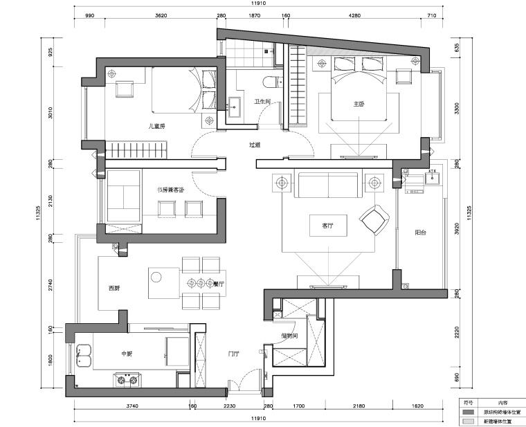 上海宏润国际花园两居室样板房装修施工图
