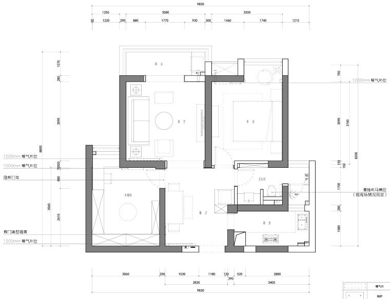 福星惠誉水岸国际一居室样板房装修施工图
