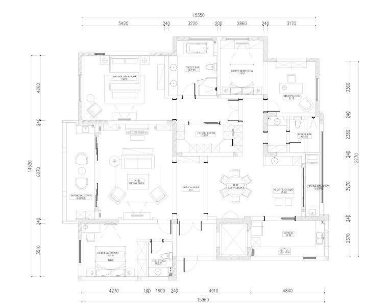 幻城国宾一号245㎡美式风格样板间施工图