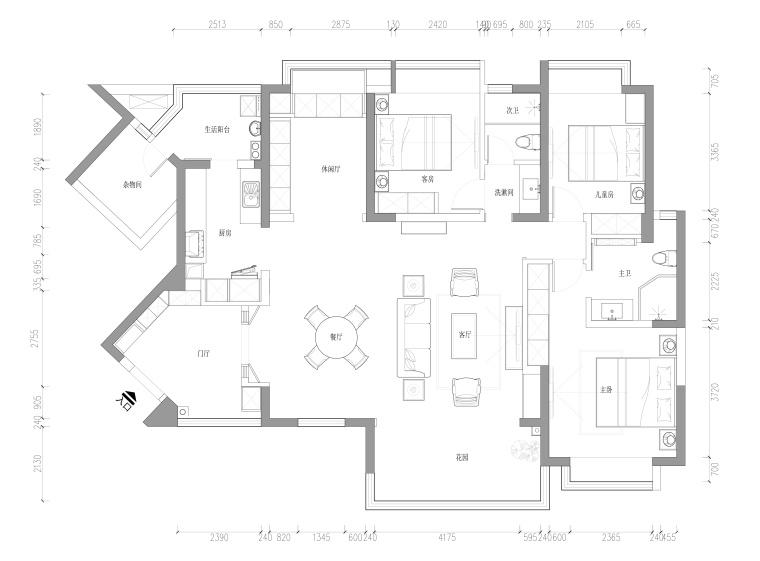 成都市仁和春天国际花园三居室样板间施工图
