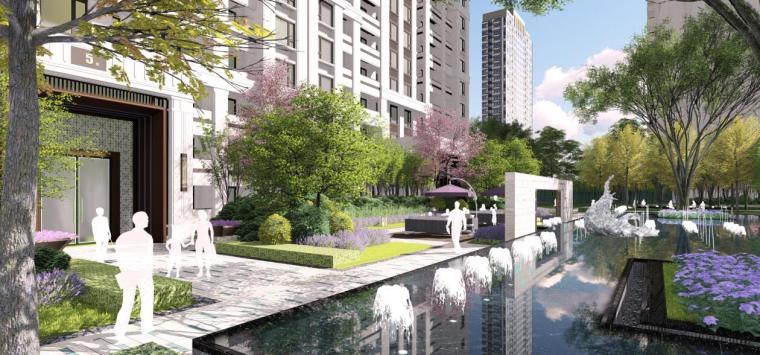 [上海]新古典风格高档居住区景观概念文本-楼王庭院景观