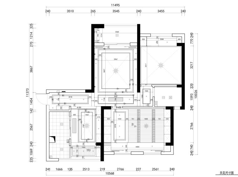 花房姑娘项目设计室内装修全套CAD施工图纸-天花尺寸图_看图王