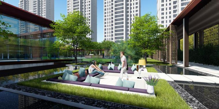 [上海]新古典风格高档居住区景观概念文本-下沉庭院效果图
