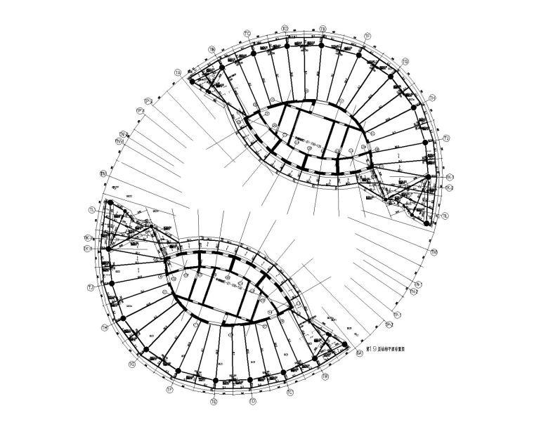 丽泽soho钢管混凝土柱一核心筒建筑结构图纸