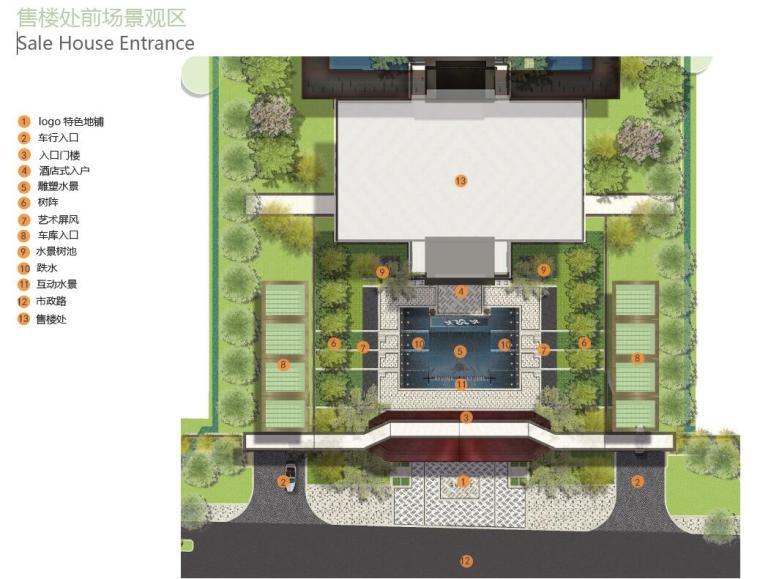 [上海]新古典风格高档居住区景观概念文本-售楼处前场景观区
