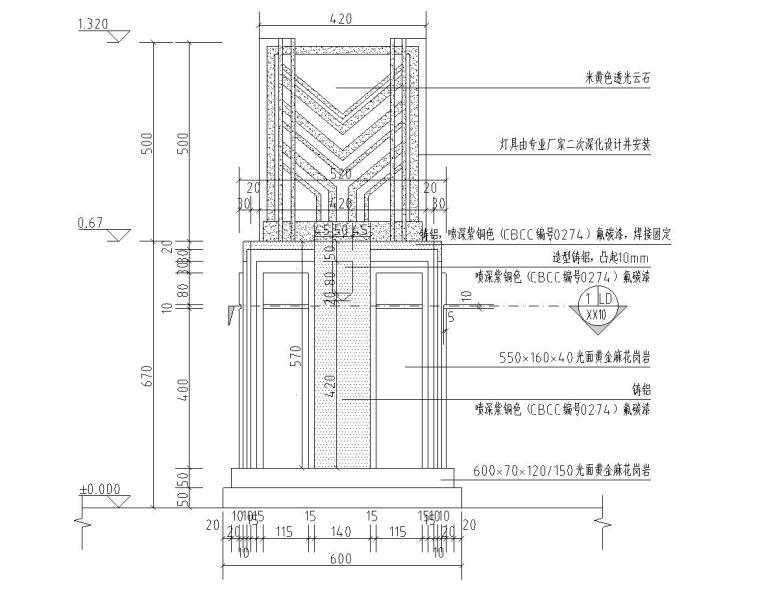 景观细部施工图|高端景墙三特色灯具-灯具立面图