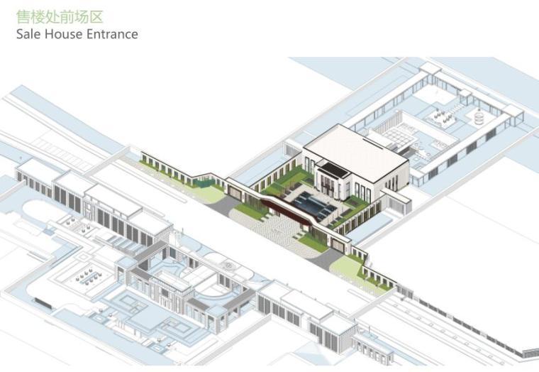 [上海]新古典风格高档居住区景观概念文本-售楼处前场区