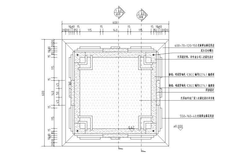景观细部施工图|高端景墙三特色灯具-灯具平面图