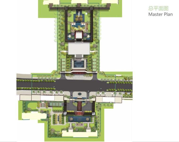 [上海]新古典风格高档居住区景观概念文本-总平面图