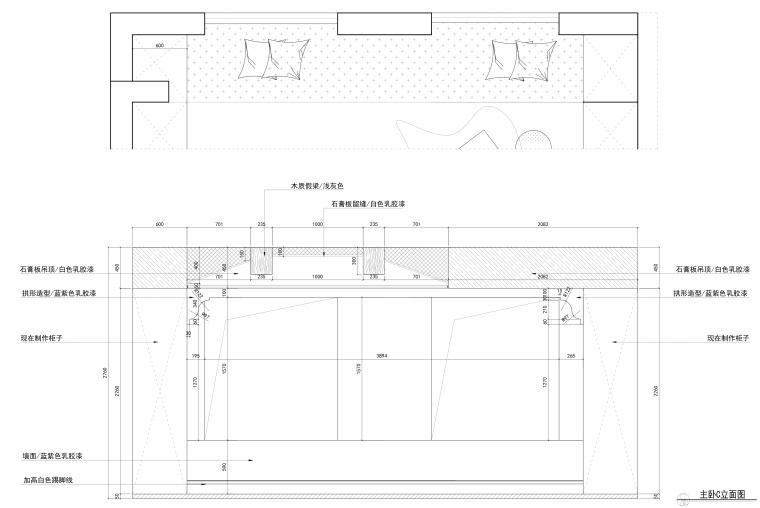 花房姑娘项目设计室内装修全套CAD施工图纸-主卧C立面图_看图王