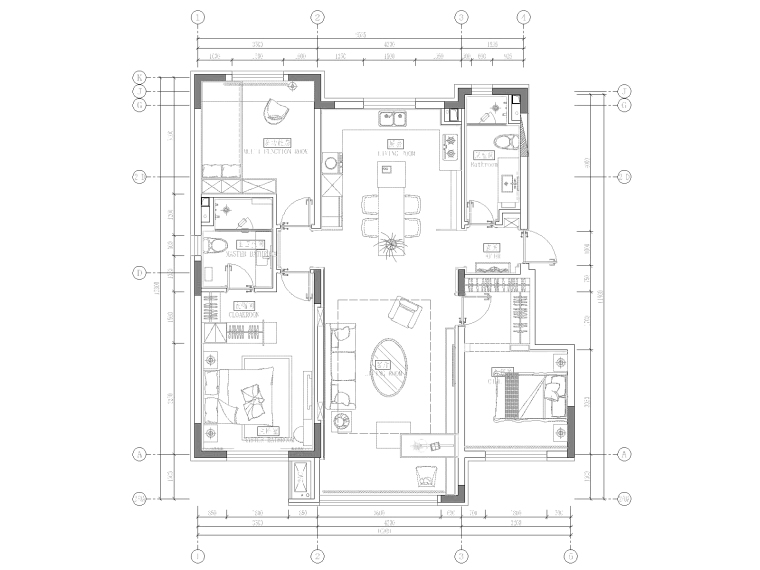 沈阳市美的时代城105平样板房装修施工图