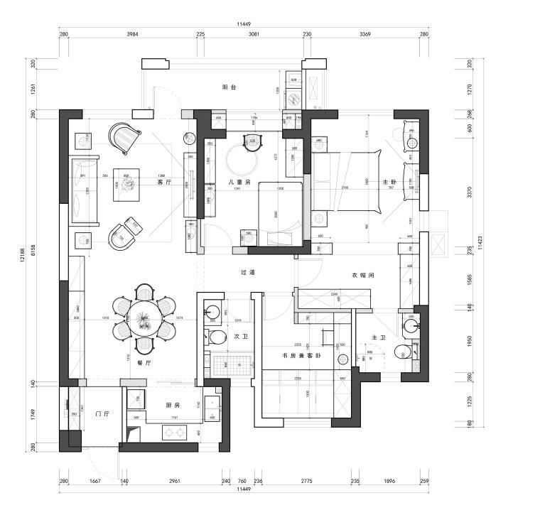 复地东湖国际两居室样板房装修全套施工图-家具尺寸图_看图王