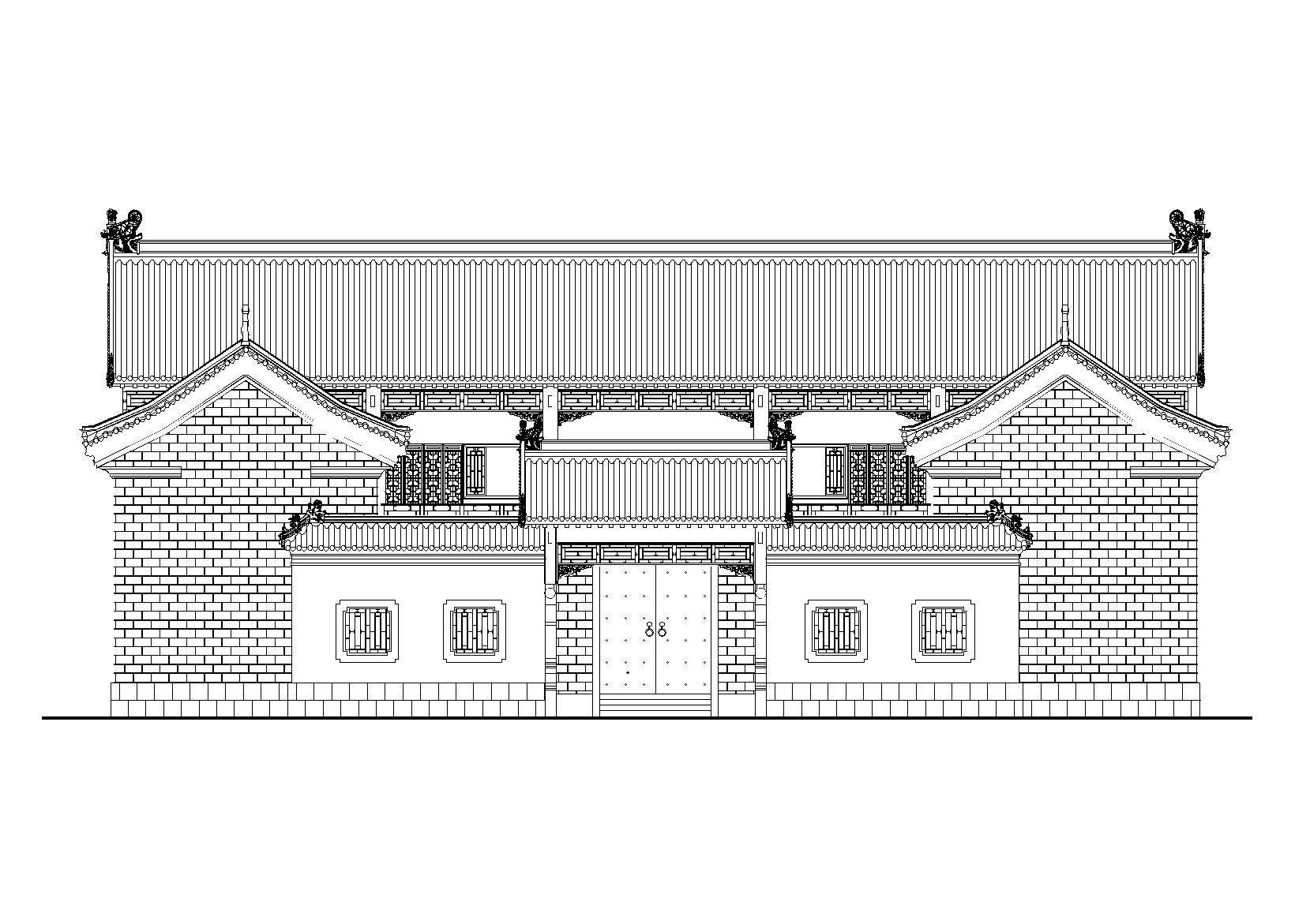 仿古四合院建筑设计施工图(带效果图)图片