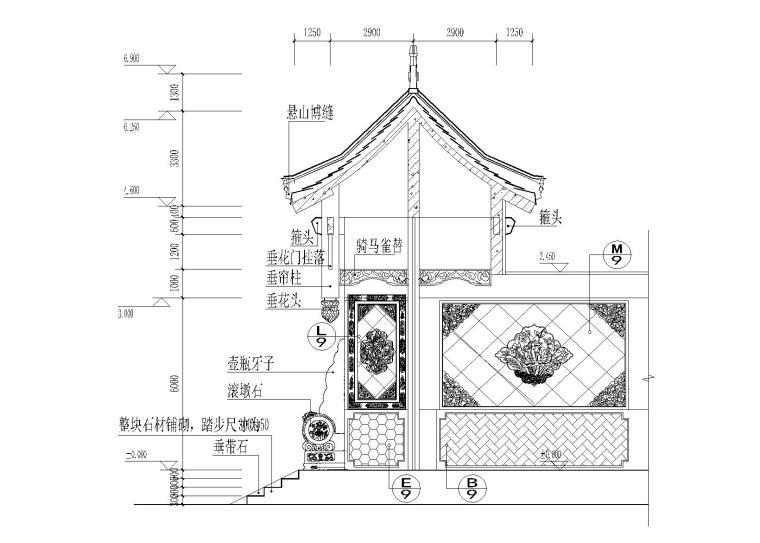 仿古四合院建筑设计施工图(带效果图)-垂花门剖面大样图