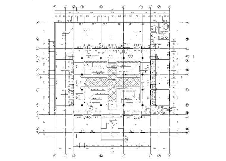 仿古四合院建筑设计施工图(带效果图)-底层建筑平面图