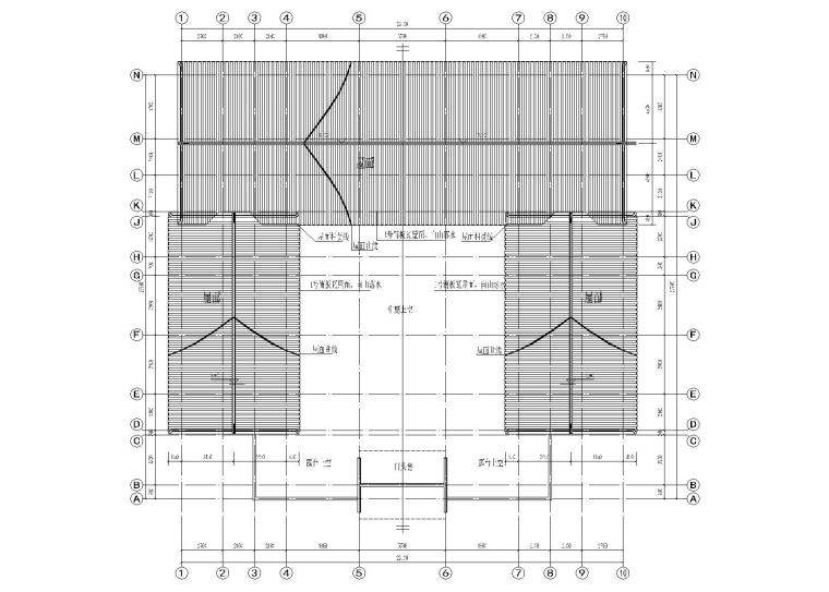 仿古四合院建筑设计施工图(带效果图)-屋顶建筑平面图