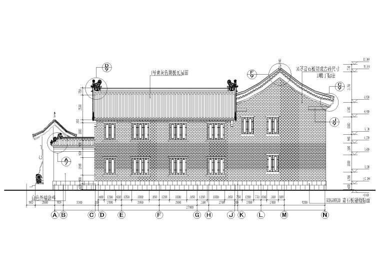 仿古四合院建筑设计施工图(带效果图)-A-N轴线建筑立面图