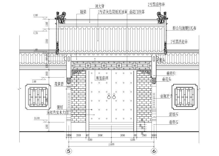 仿古四合院建筑设计施工图(带效果图)-垂花门大样图