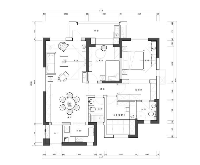 复地东湖国际两居室样板房装修全套施工图