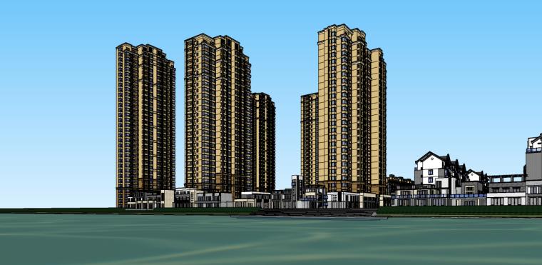 休宁中式完整小区及商业街su模型