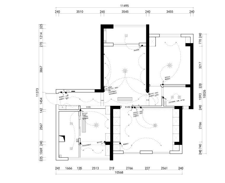 花房姑娘项目设计室内装修全套CAD施工图纸-开关布置图_看图王