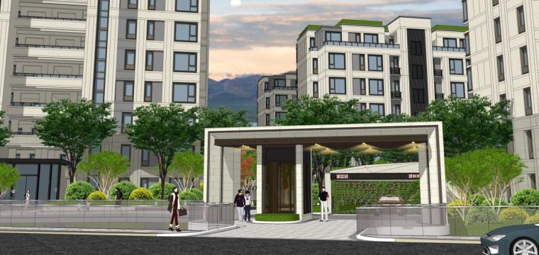 [浙江]新中式风格住宅区豪宅概念设计-北入口方案二效果图